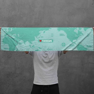 Make World Map Manufacture of Sports Towels (Lake Green)