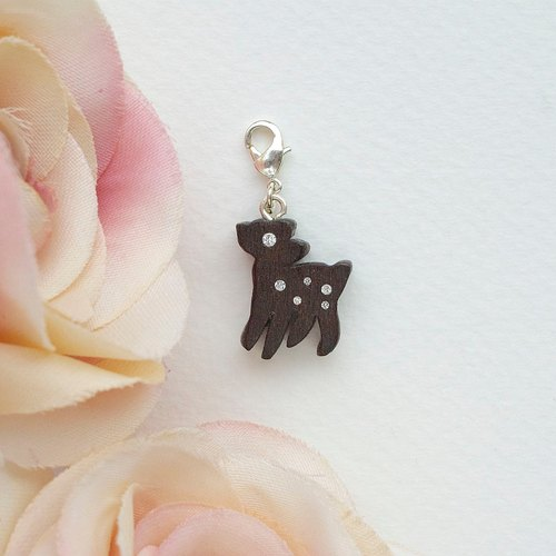 Deer wooden charm (can choose gold / silver plated Lobster clasp)