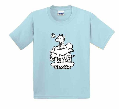 Painted T-shirts | Giraffe | US cotton T-shirt | Kids | Family fitted | Gifts | painted | Aqua