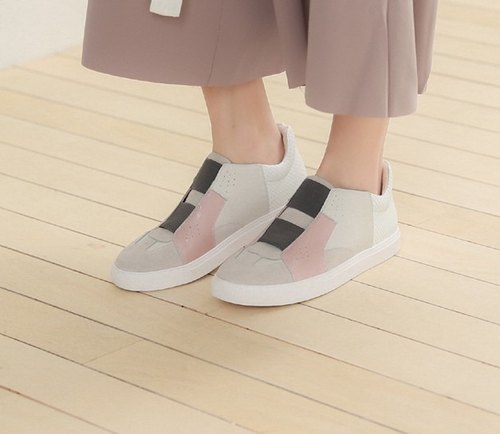 Geometric color block splicing high tube leather bandage casual shoes powder apricot white