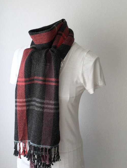 "[Baby alpaca: Fall-Winter] unisex: hand-woven scarf ""Gray & Bright line Mix"""