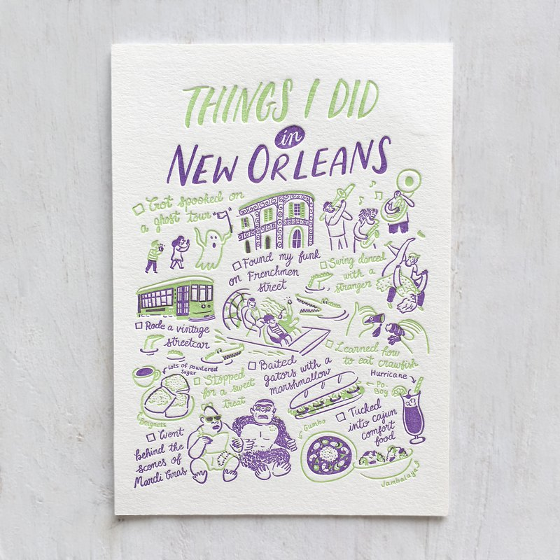 Things I Did in New Orleans Letterpress Postcard