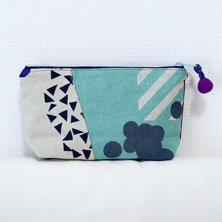 Stitching cosmetic bag - imported from Japan - water blue geometry + blue dot