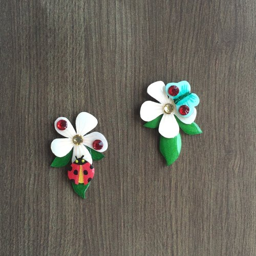 [Breath] original natural stones hand-painted blue and green cherry flower frangipani green leaf insect Daisy Ladybug Butterfly House - earring pierced ear clip-free - cute elegant fashion personality - Souvenir birthday holiday valentine exchange