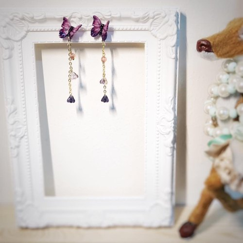 [Atelier A.] Earrings Christmas girl pinnacle purple earrings earrings ear clip