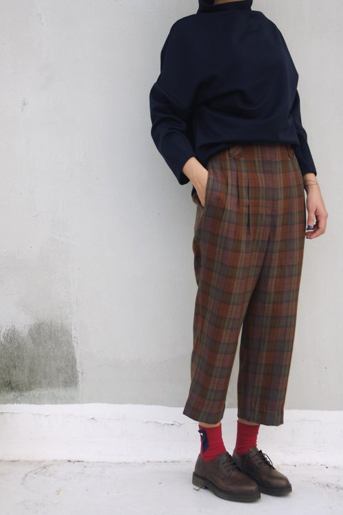 4.5studio- Geocaching vintage - retro classic British Red Plaid waist pants