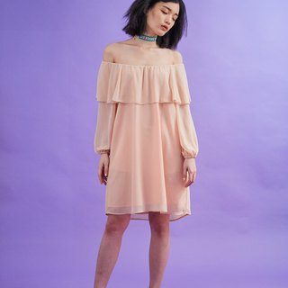 Open flare shoulder dress (beige)