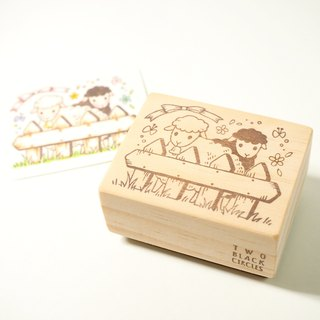 [Lamb] After the series of black and white sheep fence hand carved stamp offset