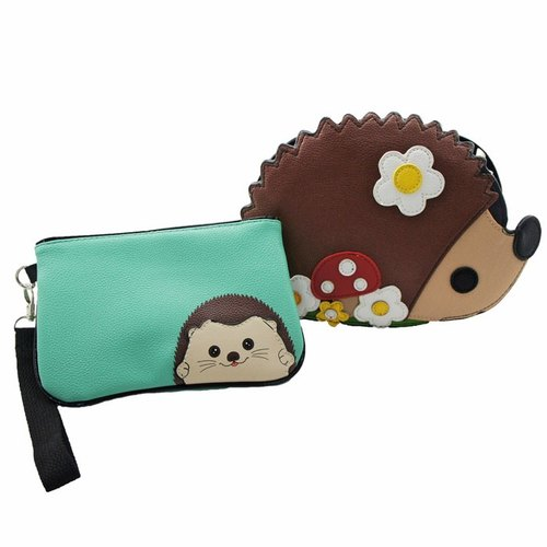 American design Sleepyville Critters Cool Music Village - Lightweight cute forest hedgehog bag slung animal with a long zipper bag + Million combination