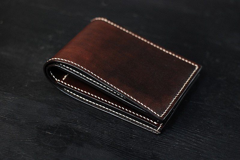 [Pure hand-stitched] [Hand-dyed full leather] Hand-stitched full leather handmade brown short clip