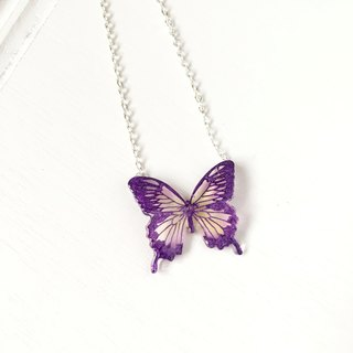 * Haku‧Neko * Purple pattern Pink and Yellow  Swallowtail Hand painted butterfly necklace