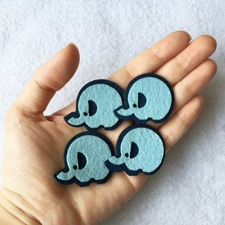 Set of 4 elephant felt iron-on patch