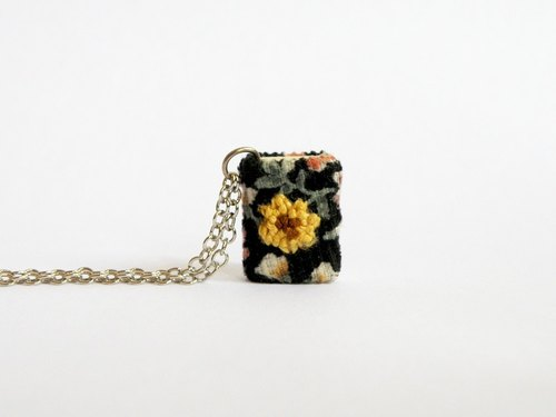 Book Necklace, Embroidery flower, miniature book necklace