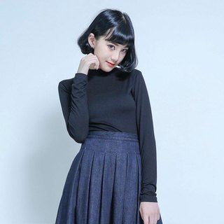 SU: MI said Cozy high collar elastic self-cultivation shirt _5AF004_ black