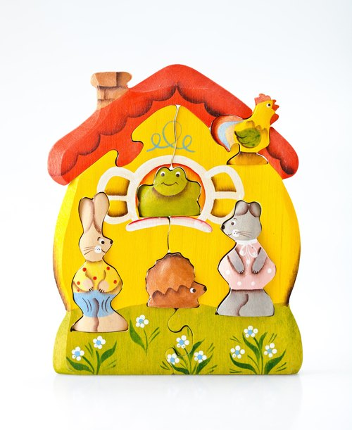 Russia story building blocks - Chun wooden fairy tale - dimensional jigsaw puzzle series: cabins