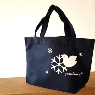 Lunch tote back with crystal pattern of birds and snow