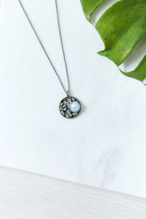 Moon eclipse Moonstone with Pyrite Necklace