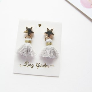 Rosy Garden Light grey color  tassel with little star earrings
