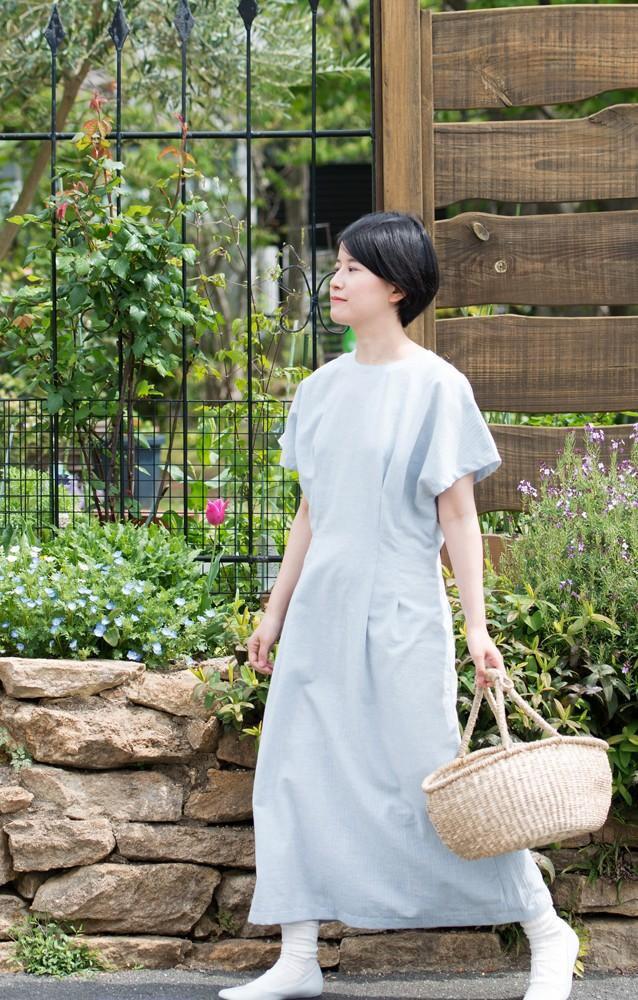 有機棉法式袖W連衣裙連衣裙【人字面料/淺藍色】