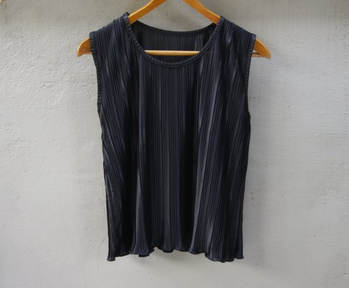 FOAK vintage black pleated ribbon vest