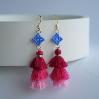 Blue Beaded Gradient Tassel Earrings