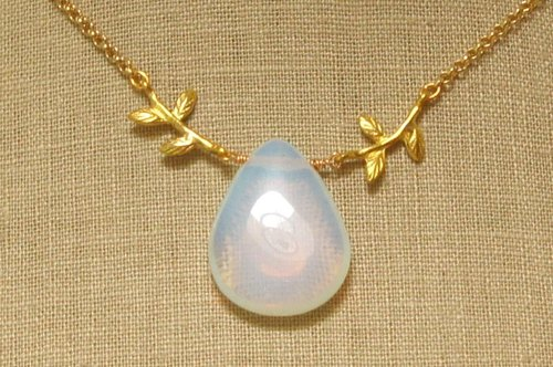Natural Moonstone and Leaf Necklace