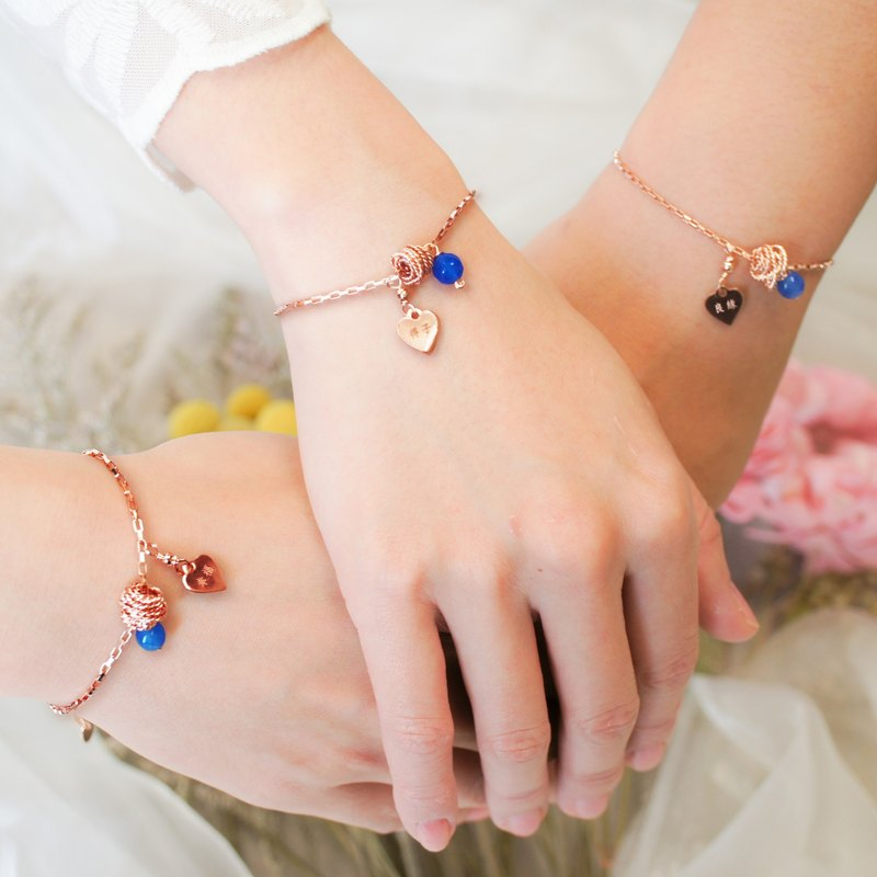 3 into the group bridesmaid bracelet*rose blue agate hug love*commemorative lettering*customized gift*sister bracelet