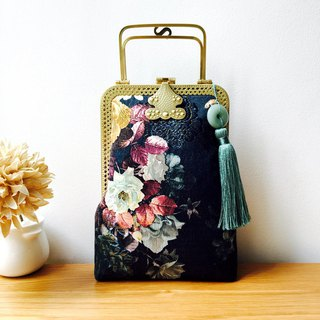 Limited time discount gold package cheongsam bag Messenger bag flower iphone mobile phone bag mobile phone bag Messenger bag storage bag birthday gift custom gift can be embroidered lettering