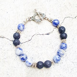 Blue Country Blue Rock x Volcanic Rock Bracelet FitterHandmade Natural Stone Hand