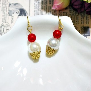 Alloy <Snowball> _ hook earrings