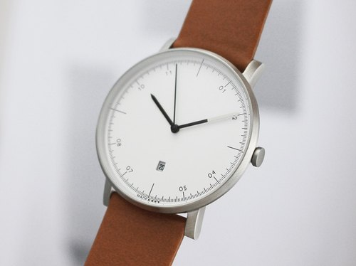 Silver MG001 Watch | Leather Band