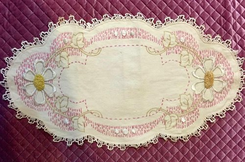 Early American vintage lace embroidery placemat / decorative towel