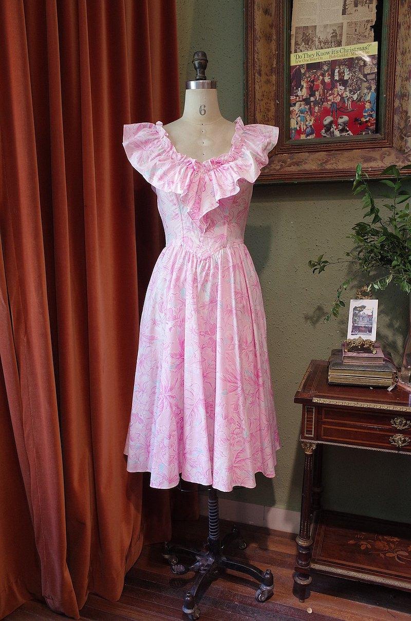 vintage dress美國制夏威夷荷葉領連衣裙古著洋裝