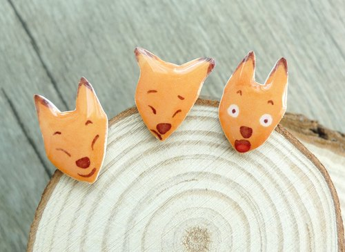Misssheep- [face of the fox] watercolor hand painted style fox hands earrings (ear needle / transparent transparent ear clip) [a set of 3]