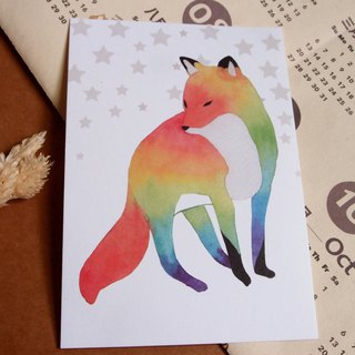 Watercolor rendering postcard - fox