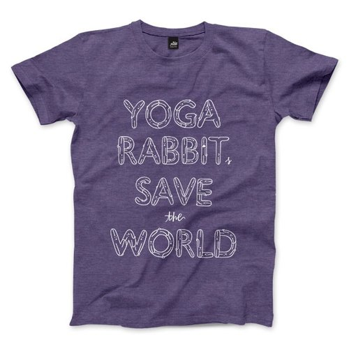 YOGA RABBITS SAVE the WORLD - heather purple - Unisex T-Shirt