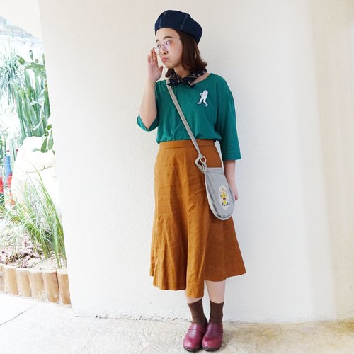 Brown color pleated skirts
