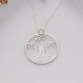 Ni.kou sterling silver cat back shadow necklace