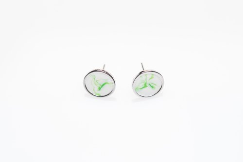 1 month birth rendering stone green white rendering metal silver frame full hand earrings / ear clip