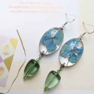 Annys workshop手作押花飾品,押花耳環,繡球花耳環