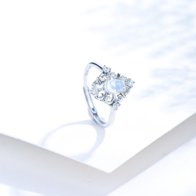 月光石戒指 | 925純銀精鍍亮澤白金戒指 | 可調節戒圍