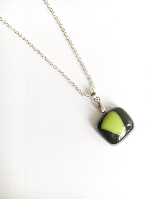 Black glass kiln geometry Necklace