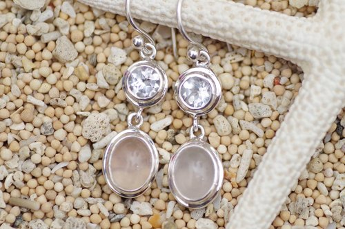 White topaz and rose quartz silver earrings