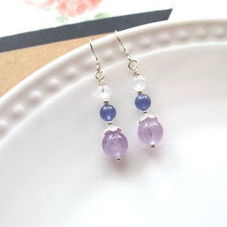 [Grape Tower] Amethyst x Moonstone x Danquan Stone x 925 Silver - Earrings