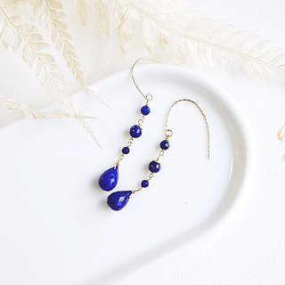 Parrot sapphire asymmetrical natural lapis lazuli earrings 14K GF unique personality