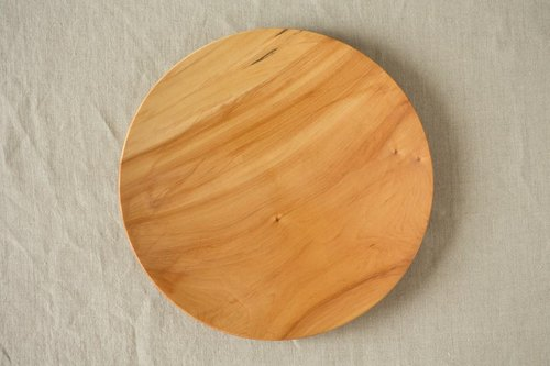 Of the potter's wheel ground wooden plate Tochigi 24cm 02 of the (land)