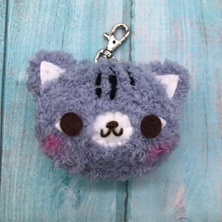 Gray Cat - Fat Doodle Woolen Animal Keyring Charm