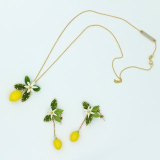 Pamycarie Great lemon tree branch clay plant Earrings Necklace Set
