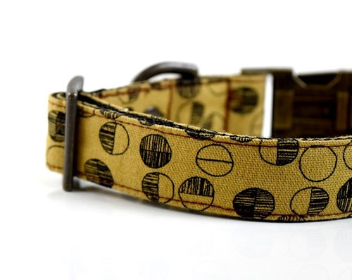 Circle Dot Cotton Linen Dog Collar - Mustard-Antique Brass