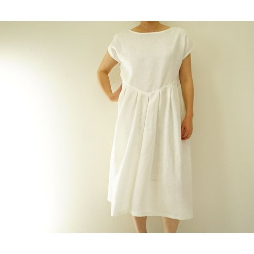 [Wafu] Belgian linen 100% French sleeve dress / White a13-37
